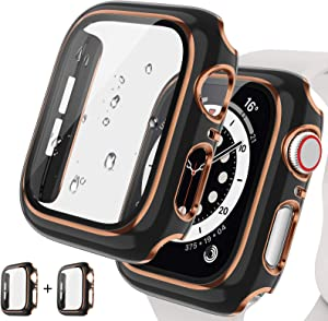 [2Pack] Tensea for Apple Watch Series 3 2 1 Case with Screen Protector 42mm Accessories, iWatch Protective PC Face Cover Built-in Tempered Glass Film, Hard Bumper Case Women (42 mm, Black/Rose Gold)