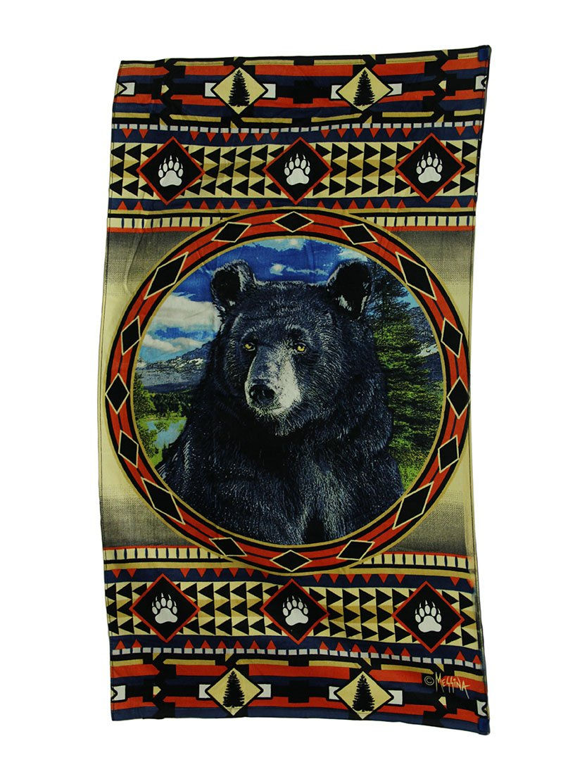 Zeckos Cotton Beach Towels Bear Mountain Country Rustic Decorative Lodge Style Beach Towel 63 X 35 Inch 35 X 63.5 X 0.13 Inches Multicolored