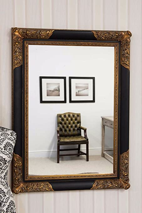 3ft8x2ft8 112x81cm Large Black Gold Antique Style Wood Rectangle Wall Mirror Amazon Co Uk Kitchen Home