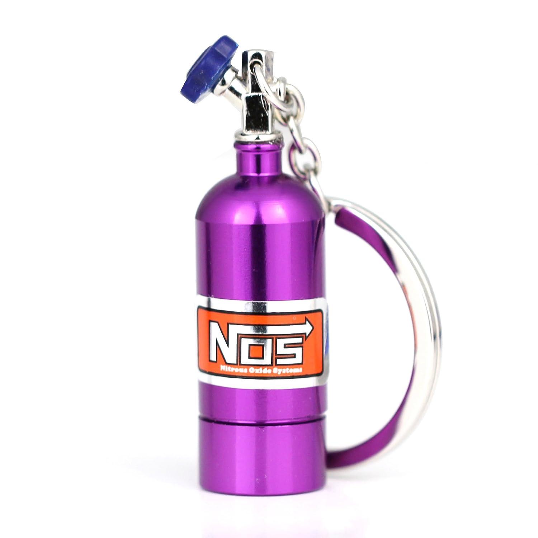 Purple Maycom Creative New NOS Mini Nitrous Oxide Bottle Keyring Key Chain Ring Keyfob Stash Pill Box Storage Turbo Keychain