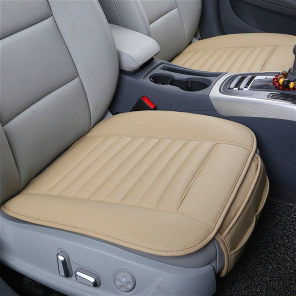 Car Seat Cover Pad Mat, Auto Supplies Car Seat Cushion Seat Protector for Car Driver Seat Office Chair Single Seatpad with Bamboo Charcoal Breathable PU Leather (Black) AENMIL