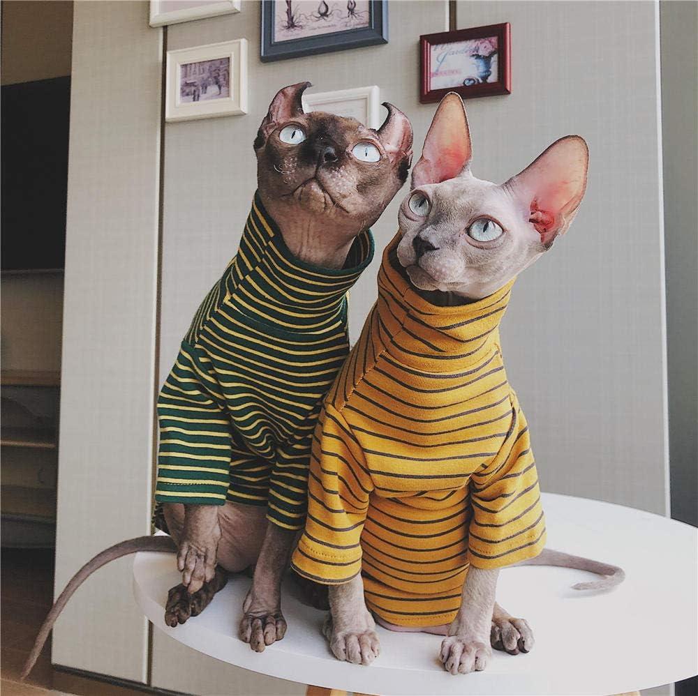 XS Ropa de Gato sin Pelo alem/án DSYRH Jersey de Pareja a Rayas Ropa de Gato esfinge Acolchado Amarillo algod/ón Puro Retro Hecho a Mano