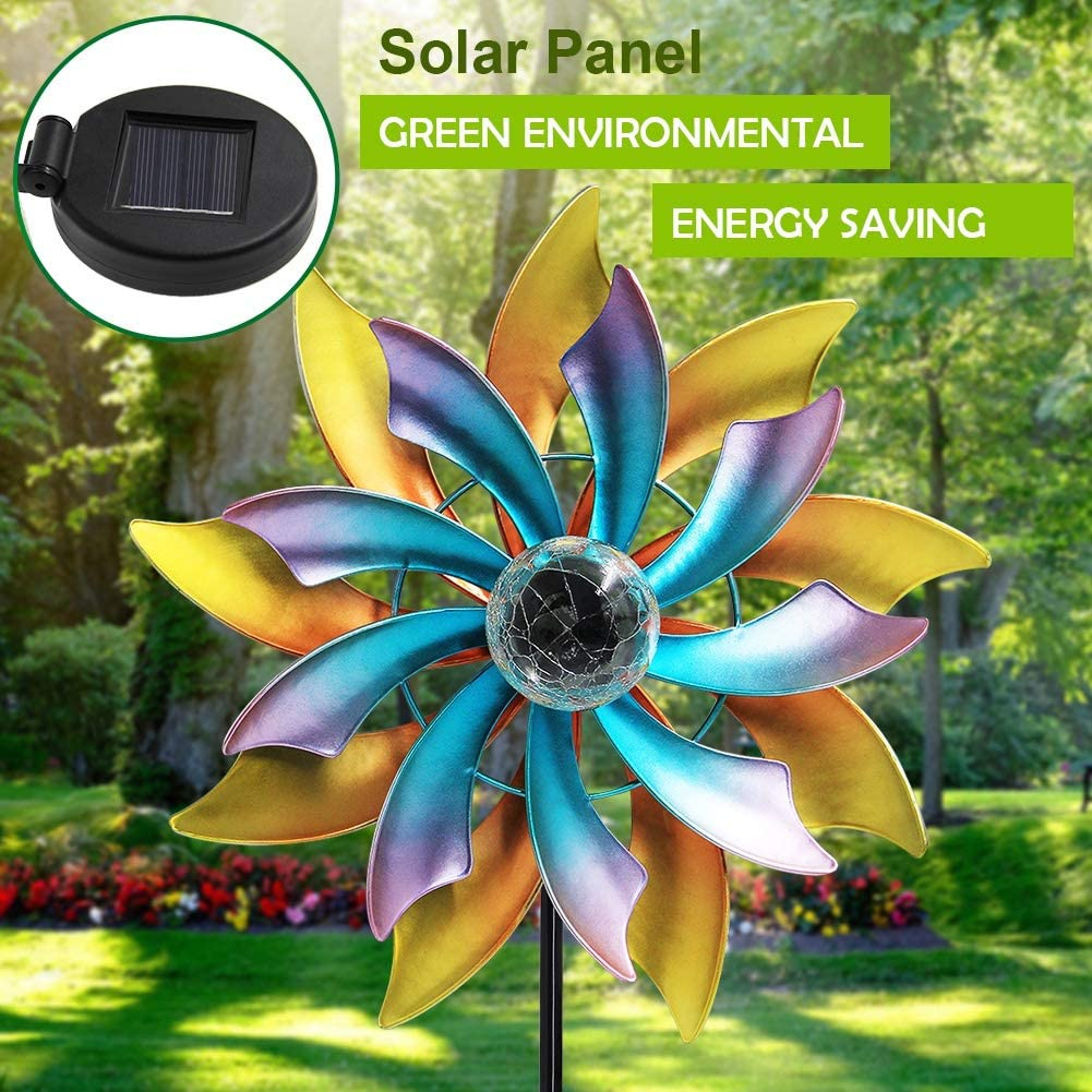 MAGGIFT 57 Inch Solar Wind Spinner with Metal Garden Stake, Multi Color Changing LED Solar Powered Glass Ball, Outdoor Wind Catcher Yard Patio Christmas Holiday Decoration