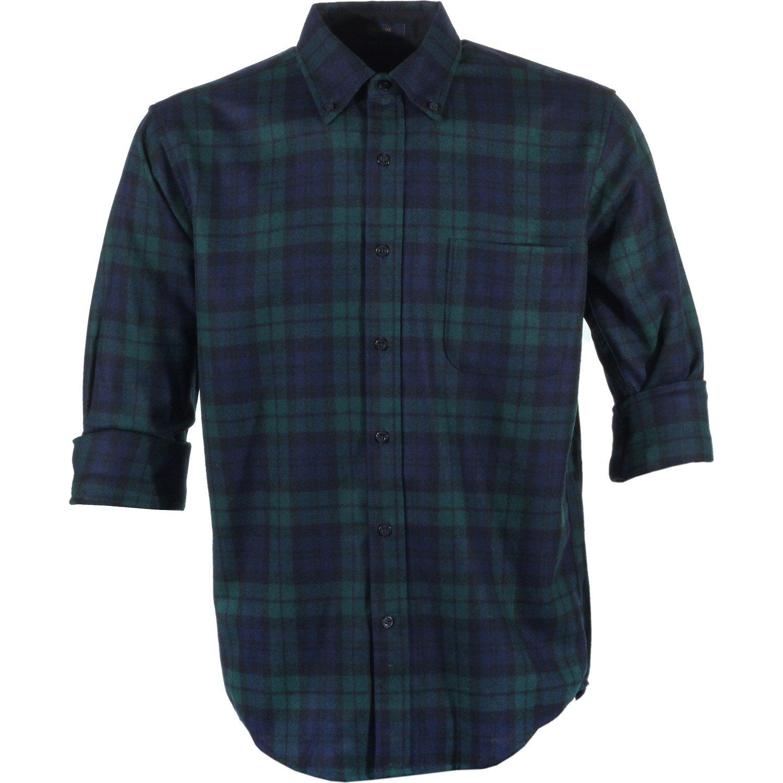 Pendleton Men's Long Sleeve Button Front Fitted Fireside Shirt, Black Watch Tartan, Large