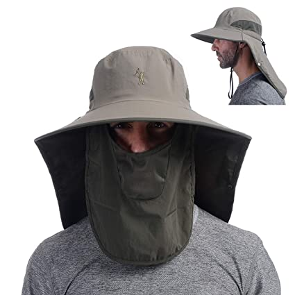 Work Product Protection Fishing For >> Outdoor Fishing Hat With Face Mask Ear Neck Flap Cover Wide Brim Sun Hat Upf 50 Uv Protection Safari Sun Cap For Men Women Hunting Hiking Jungle