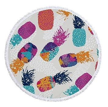 MX Toallas de Playa Redondas de Bronceado Estilo Bohemio Manta de Borla de la Bola Manta de Yoga Manta Mujeres Vestido de baño Toalla de baño (Style H): ...
