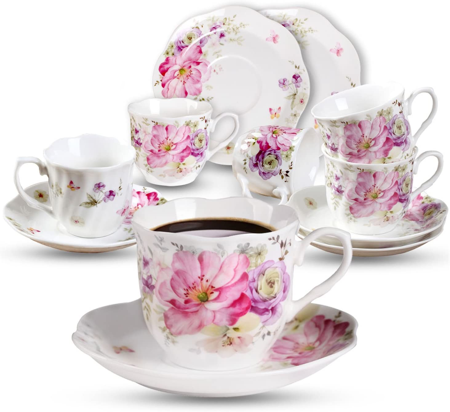 GuangYang White Ceramic Espresso Cups and Saucers - 2.8 ounce-Set of 6 -Mini Porcelain Coffee Cup Set - Fancy Flower Pattern Design(Total 12 Pieces)