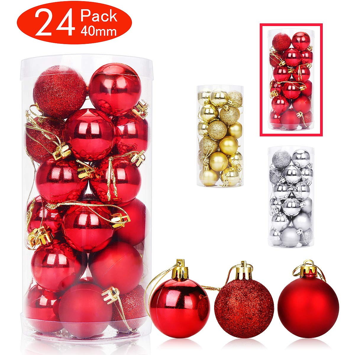Aitsite 24 Pack Christmas Tree Ornaments Set 1.57 inches Mini Shatterproof Holiday Ornaments Balls for Christmas Decorations (Red)
