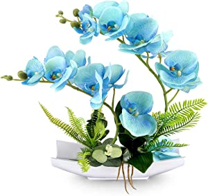 YOBANSA Decorative Real Touch Silk Orchid Bonsai Artificial Flowers with Imitation Porcelain Flower Pots Phalaenopsis Fake Flowers Arrangements for Home Decoration (New Blue)