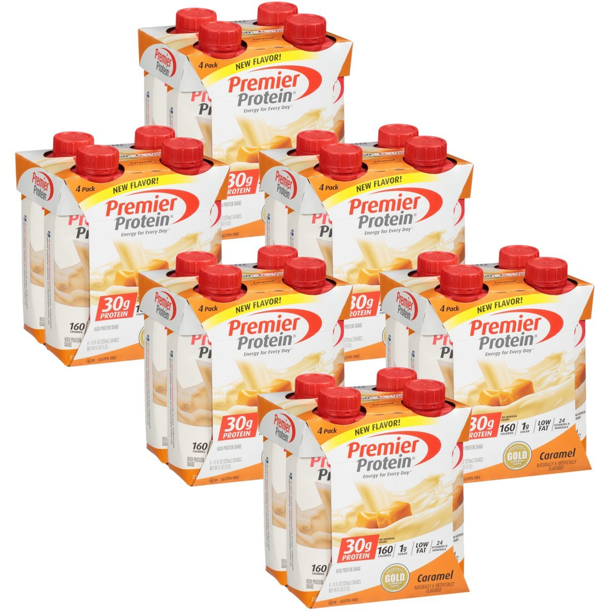Premier Protein 30g Protein Shakes, Caramel, 11 Fluid Ounces, 4 Count (Pack of 6)