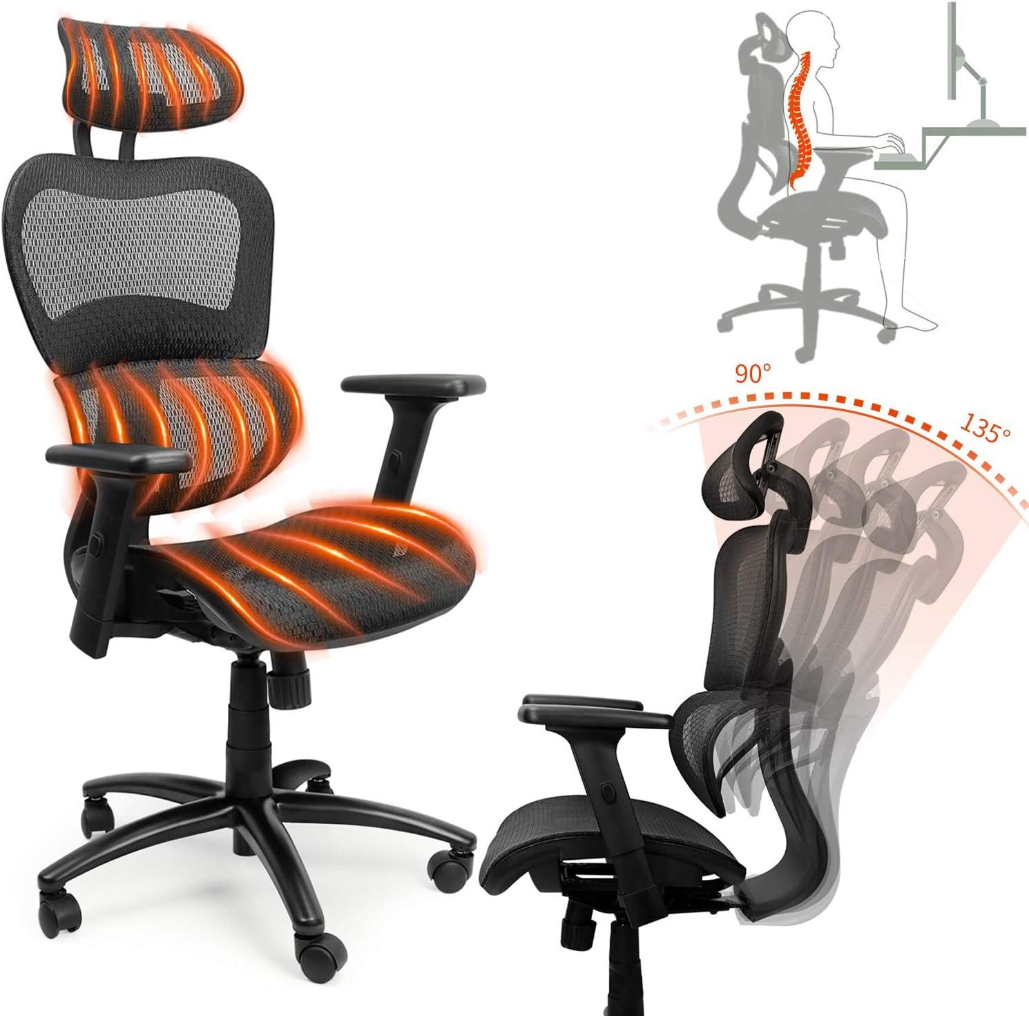 Ergousit Ergonomic Office Desk Chair Adjustable Headrest 3D Flip-up Armrests Seat Height Ergonomic Computer Chair,Executive, Drafting, Gaming or Office Chair (Black)