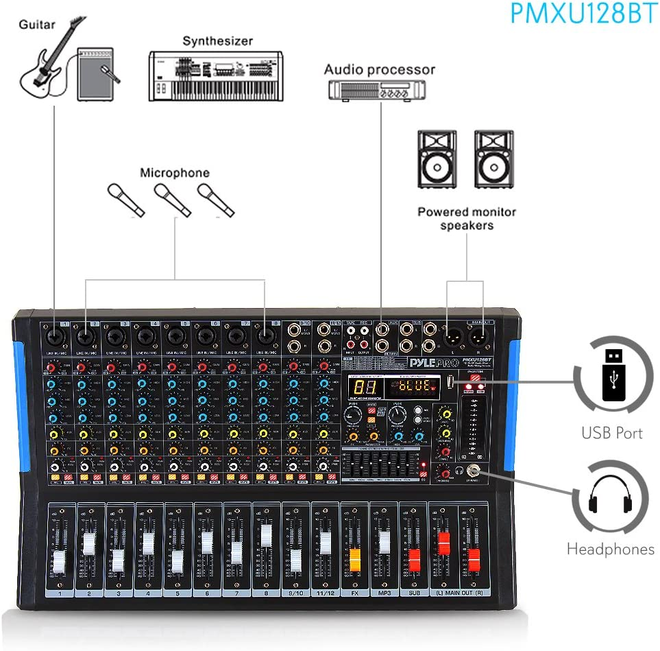 RCA Jovial 12-Channel Bluetooth Studio Audio Mixer XLR Microphone Jack For Professional and Beginners DJ Sound Controller Interface with USB Drive for PC Recording Input 48V Power