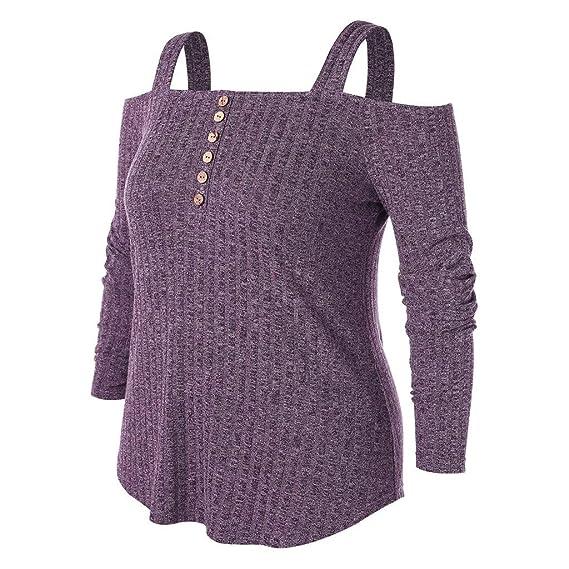Amazon.com: Blusa de manga larga para mujer, sin tirantes ...