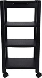 Mind Reader PRCARTLG-BLK 4 Printer Cart, Stand with Wheels, Drawer, Cord Management, Office Paper, Shelf Organization, 40 lb Capacity, Black
