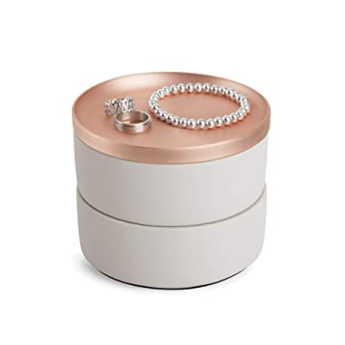 Umbra Tesora Jewelry Box, Two-Tier Resin Storage Container with Removable Lid, Concrete/Copper