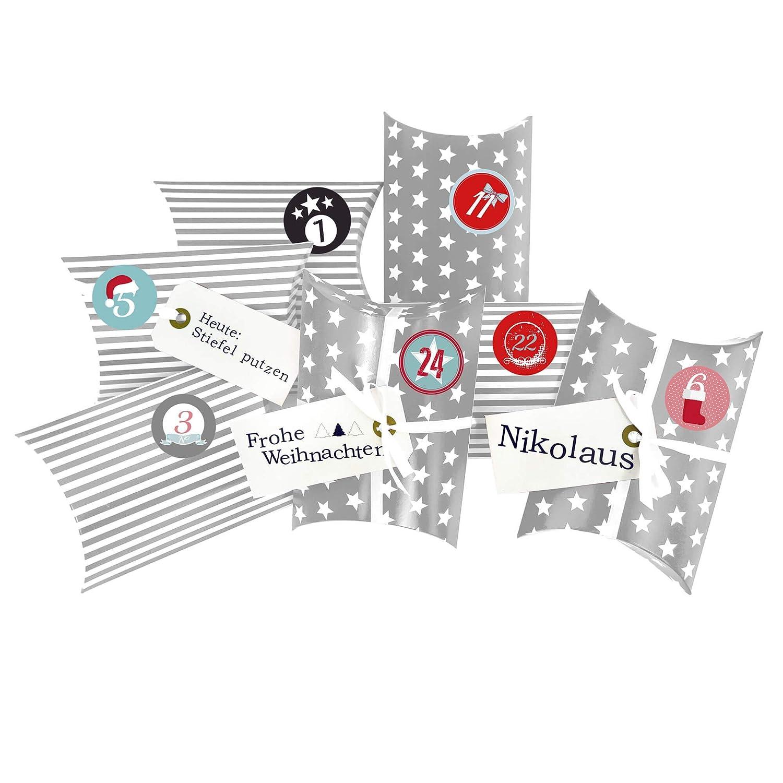 Frau WUNDERVoll® Adventskalender Christkind: Set 173, Kissenschachteln 15 x 11 x 4,5 cm rot Sterne und Streifen, Ziffern schwarz-weiß Ziffern schwarz-weiß