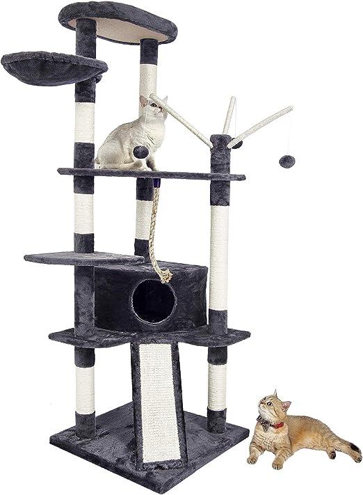 Meerveil Árbol para Gatos, Rascador Alto para Gatos con Tobogán Cubierto de Sisal Nido Cómodo, 167 cm Gris: Amazon.es: Productos para mascotas