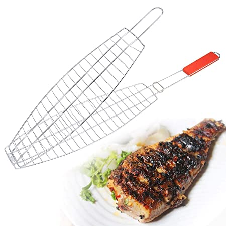 Others DEZIINE Fresh BBQ Clip Folder Grill Single Fish Meat Hinged Basket
