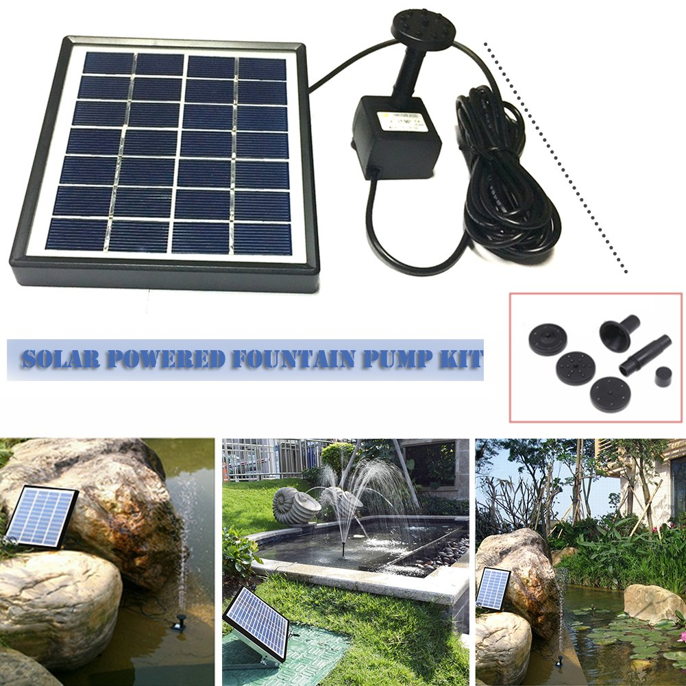 cheerfullus Solar Panel Water Fountain Solar Water Pump with 4 Sprinkler Heads for Bird Bath,Small Pond and Water Circulation by cheerfullus