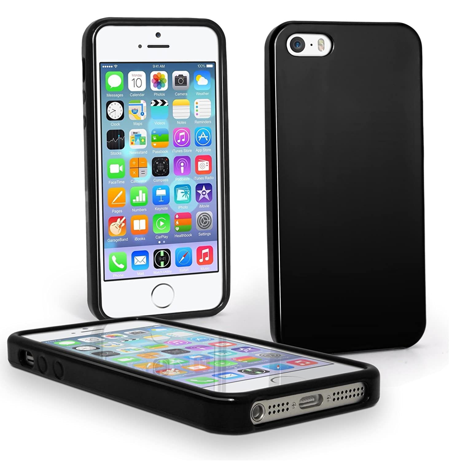 buy popular 854a5 1dc81 Verizon Wireless Silicone Case for iPhone SE/ 5S /5, High Gloss - Black