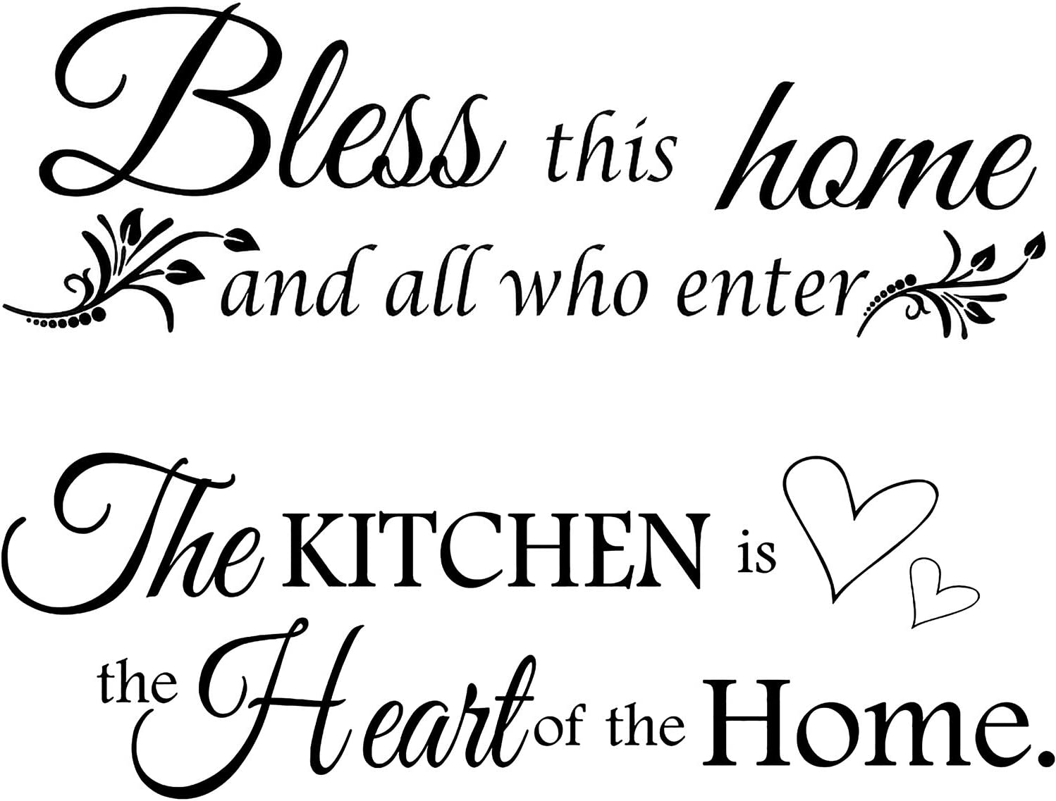 2 Sheets Vinyl Wall Quote The Kitchen Quote Wall Stickers Bless This Home and All Who Enter Kitchen Vinyl Wall Quote Art Dining Room Entryway and Living Room Wall Decal Home Decor, 12 x 35.4 Inch