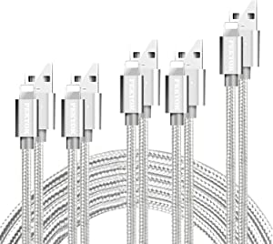 PEKYOK iPhone Charger, MFi Certified 5 Pack[3/3/6/6/10FT] USB Lightning Cable Nylon Braided Charging Cord Compatible for iPhone X/Max/12/11/8/7/6/6S/5/5S/SE/Plus/iPad - Silver