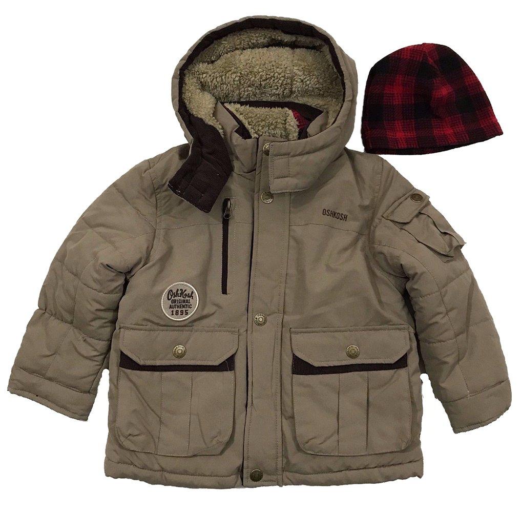 OshKosh B'Gosh Little Boys Toddler Outerwear Coat with Beenie, Almond, 3T