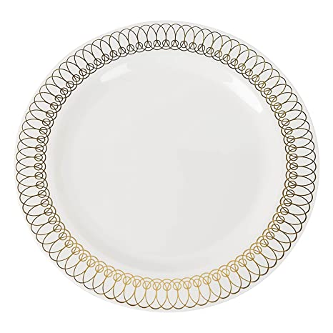 Exquisite 40-Pack Gold Ovals Design Plastic Plates (20-dinner 20-dessert  sc 1 st  Amazon.com & Amazon.com | Exquisite 40-Pack Gold Ovals Design Plastic Plates (20 ...