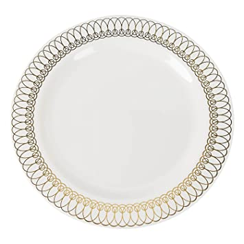 Exquisite 40-Pack Gold Ovals Design Plastic Plates (20-dinner 20-dessert  sc 1 st  Amazon.com & Amazon.com | Exquisite 40-Pack Gold Ovals Design Plastic Plates ...