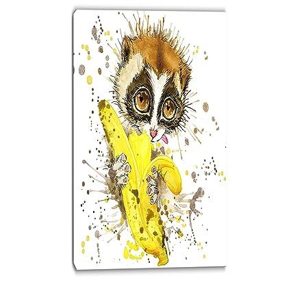 Amazon.com: Designart Lemur Eating Banana Graphics Art - Animal ...