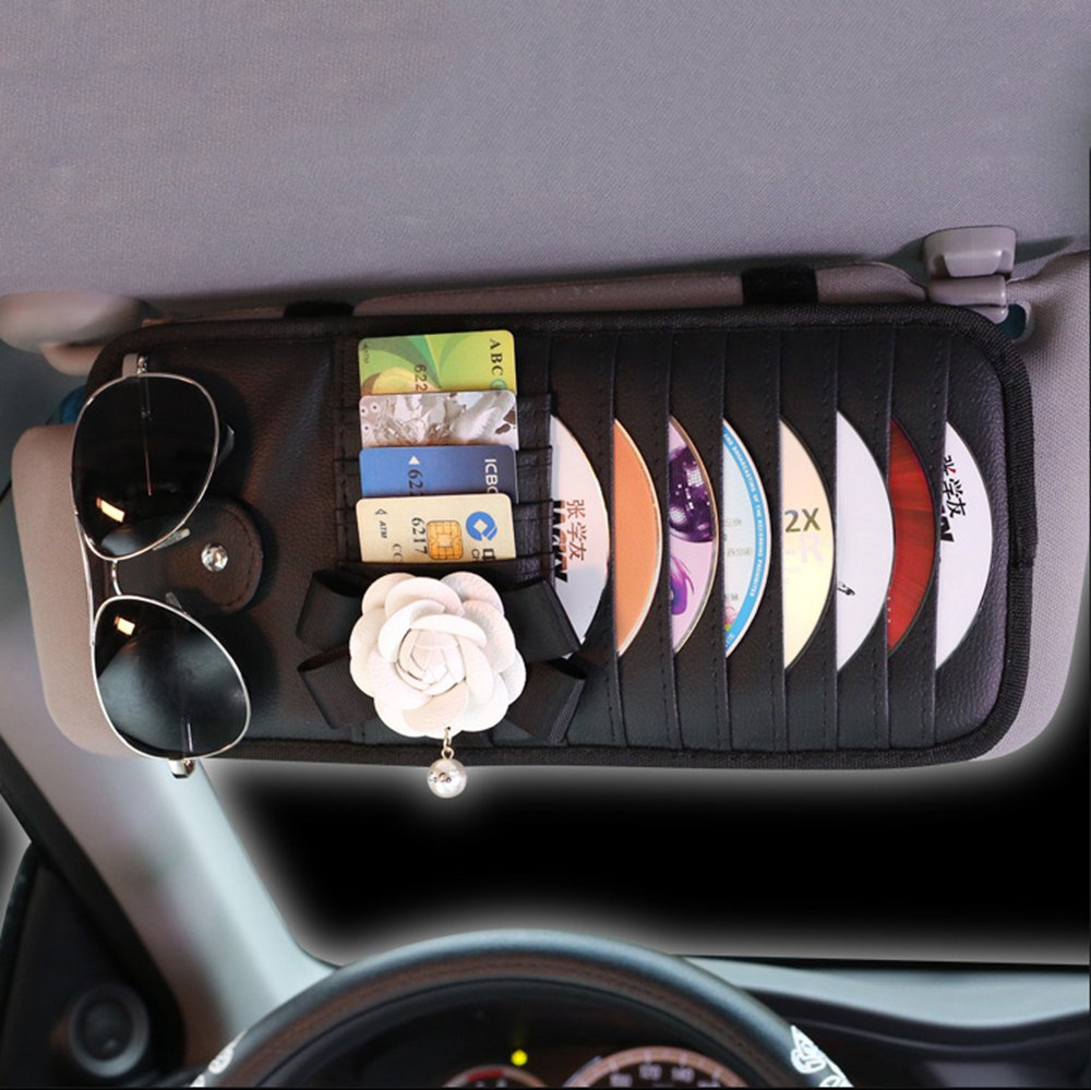 INEBIZ Luxury Car Charm Beautiful Camellia Leather Car Sun Visor 8-Pockets CD&DVD Organizer with Glasses and Pen Holder by INEBIZ