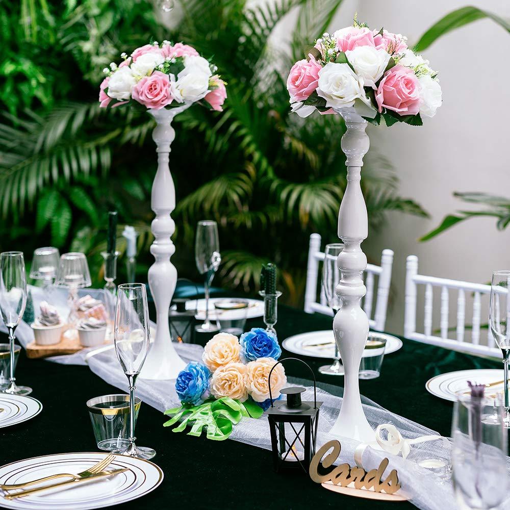 Lanlong Centre de table de mariage 90 cm de haut support de fleurs M/étal Argent/é. d/écoration du salon d/écoration de No/ël 70 cm