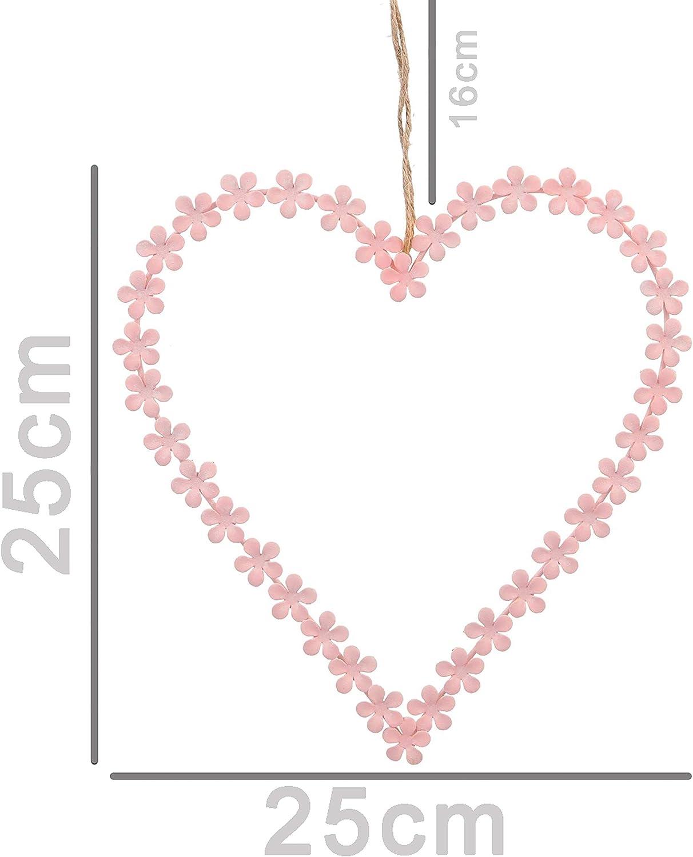 B2S BACK2SEASON Metall Herz Fidschi Rosa Liebe Geschenk Fensterh/änger Fensterdeko T/ürh/änger T/ürdeko Deko Fensterschmuck T/ürkranz Wandkranz Dekokranz Valentinstag Bl/üten Sommerdeko Fr/ühlingsdeko D25cm