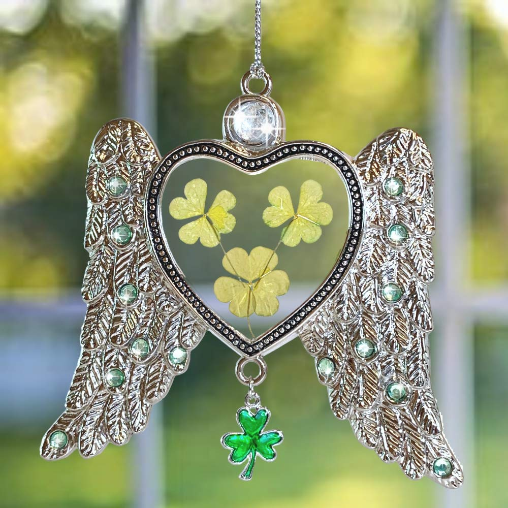 BANBERRY DESIGNS Irish Angel Suncatcher - Dried Pressed Flower Angel Wings Sun Catcher - Green Shamrocks and Clover Charm for Irish Heritage- St Patrick's Irish Gift