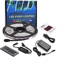 Simfonio 5M/16.4 Ft LED Light Strip - RGB LED Strip Light 300LEDs 5050SMD for Home Kitchen Under Cabinet Car Bar Indoor Party Decoration Full Kit