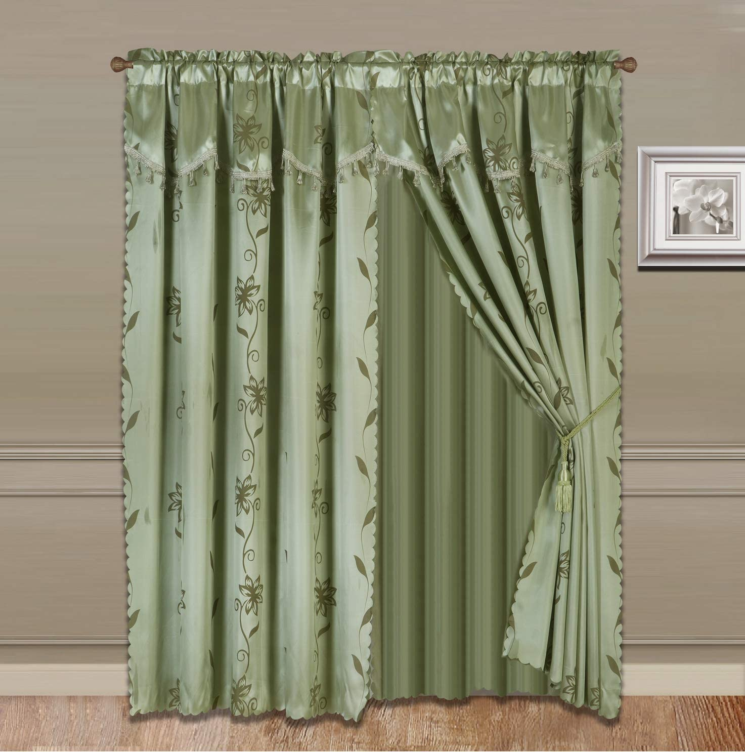 """GorgeousHomeLinen (Nada) One Solid Sage Green Elegant Rod Pocket Window Curtain Panel Floral Printed Treatment Drape with Matching tieback in 63"""" 84"""" 95"""" 108"""" Length (84"""" Standard)"""