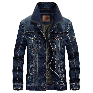 fd16845f3d8cc Nutsima Men's Cotton Denim Jackets Man Jean Jacket Coat Casual Denim ...