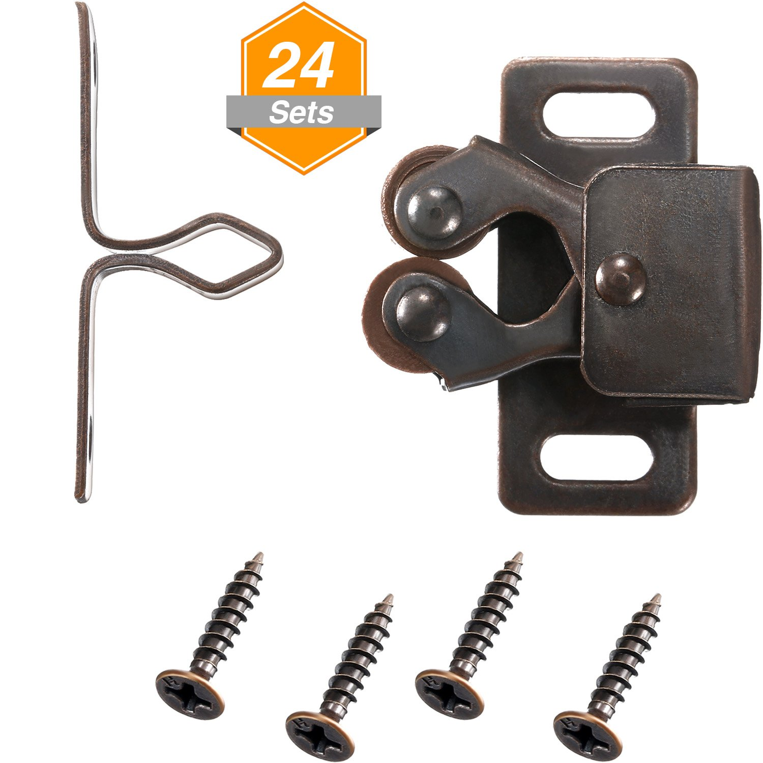 Gejoy 24 Pack Double Roller Catch for Closet Door and Cabinet Hardware Catch in Oil-Rubbed Bronze by Gejoy