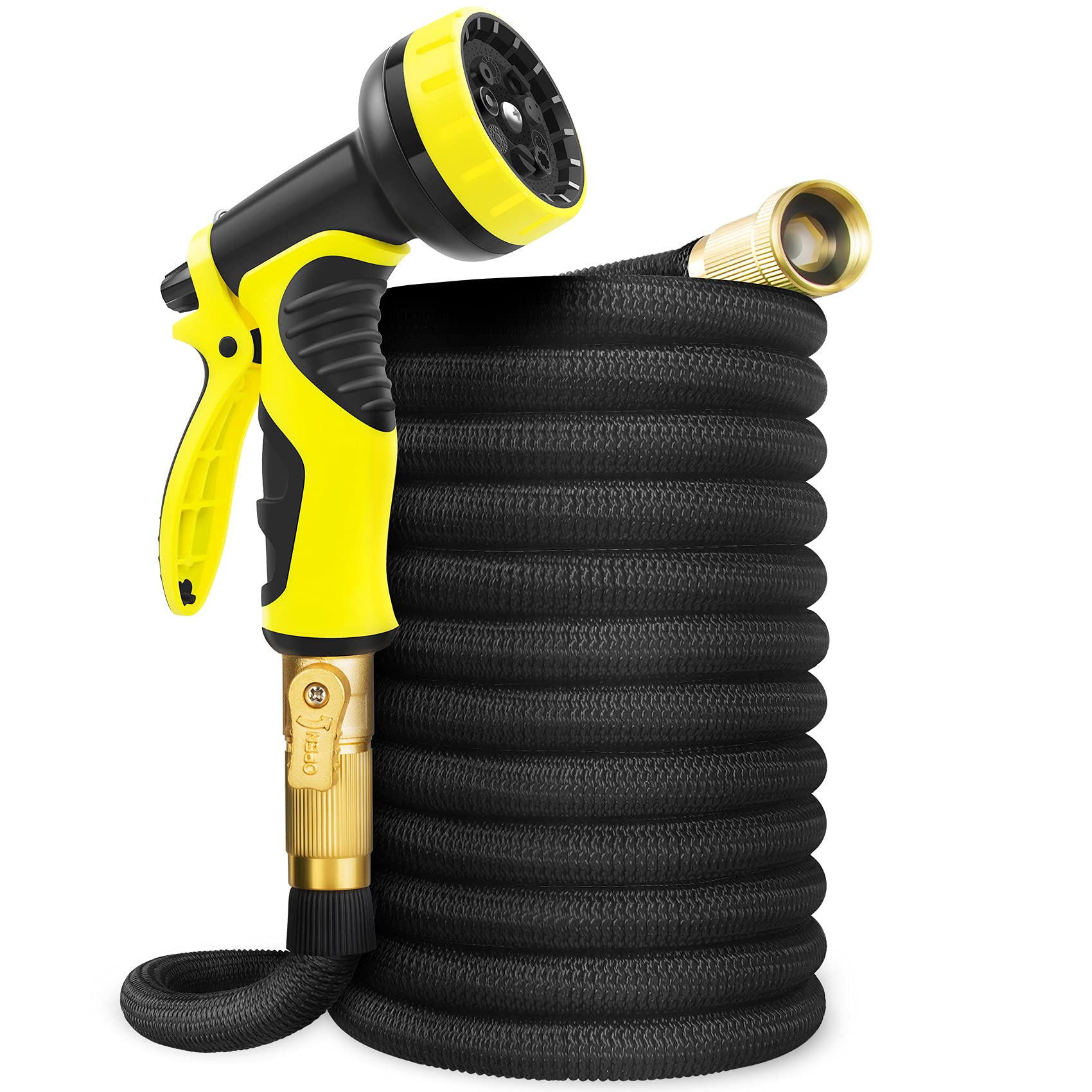 Aterod 50FT Garden Hose Expandable Hose, Flexible Water Hose with Spray Nozzle, Car Wash Hose with Solid Brass Connector, Leakproof Lightweight Expanding Pipe for Watering and Washing