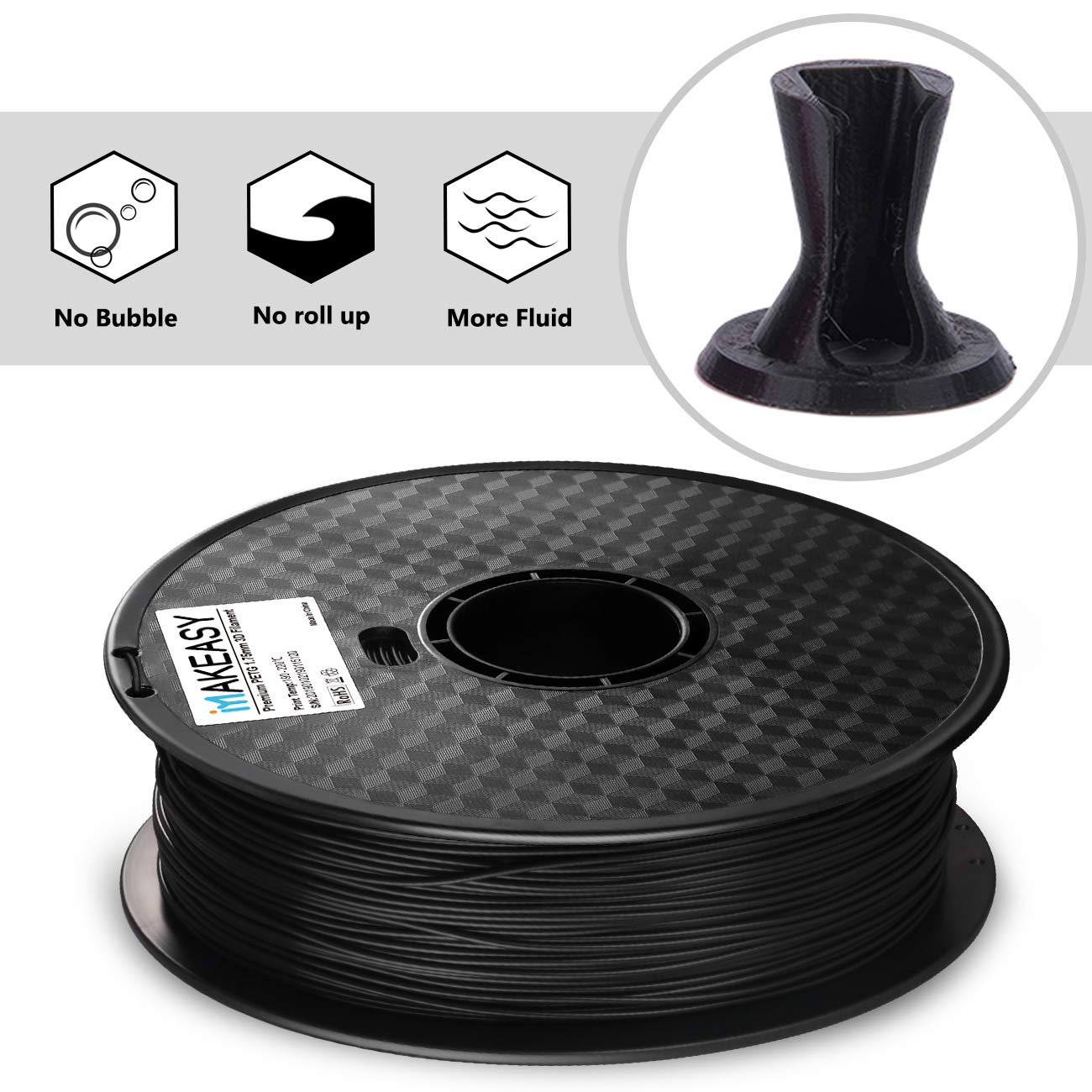 MAKEASY Dimensional Accuracy +//- 0.05 mm Black 3D Printer Filament 1kg Spool PETG Filament 1.75mm