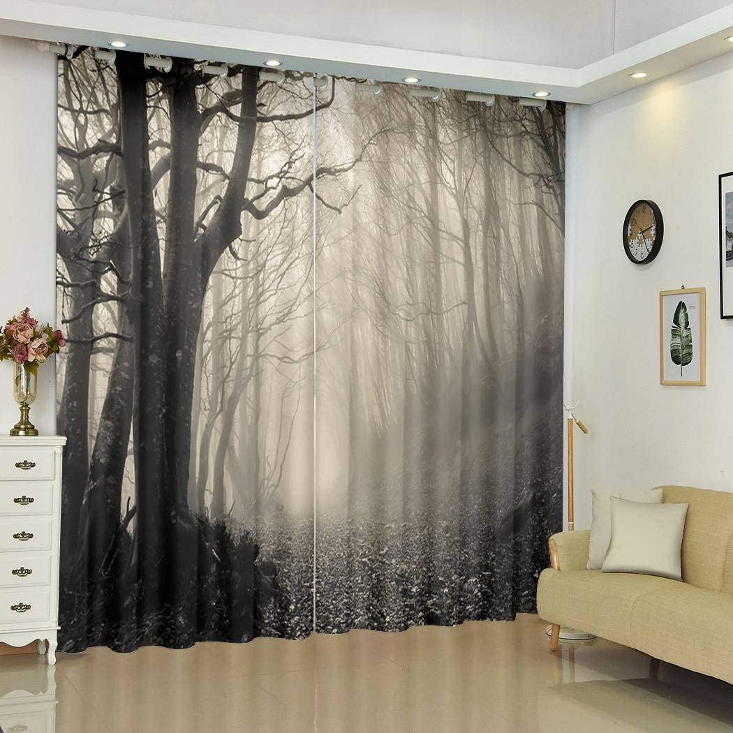 """Qoalips Black and White Blackout Curtains, Path Gothic Forest Monte Catria Soundproof Window Curtains for Bedroom Living Room Window Drapes 2 Panel Set 108"""" W x 96"""" L"""