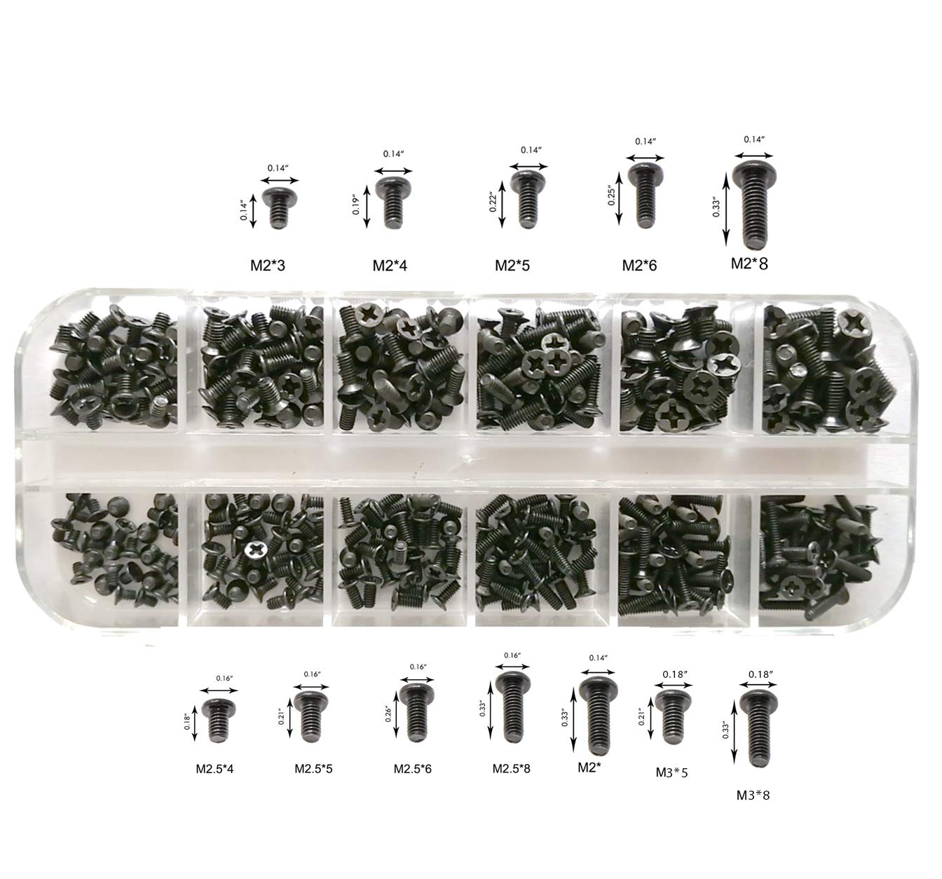 Persberg 360pcs 12sizes Laptop Notebook Computer Replacement Screws Assortment Kit Black,M2 M2.5 M3, for Lenovo Toshiba Gateway Samsung HP IBM Dell Sony Acer Asus SSD Hard Disk SATA SSD(120-169)