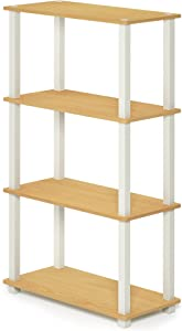 FURINNO Turn-S-Tube 4-Tier Multipurpose Shelf Display Rack, Square, Beech/White