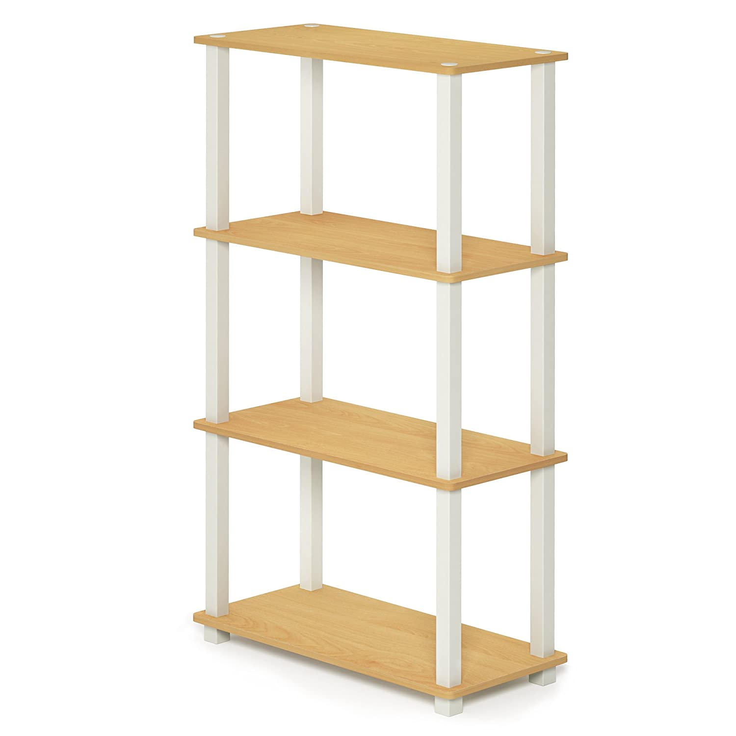 Beech White 4-Tier Square Tubes Furinno 17091BE WH Turn-N-Tube 5-Tier Compact Multipurpose Shelf, Single, Beech White