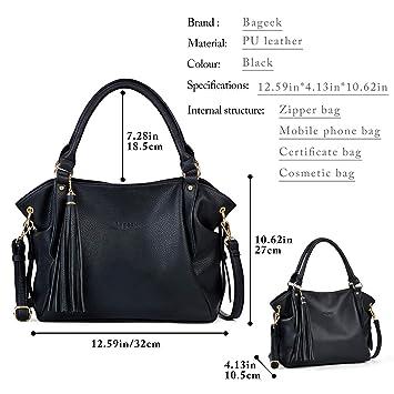 178becfac70e3 Bageek Schwarze Handtasche Damen Shopper Tasche Leder PU Lederhandtasche  Damen Schultertasche Damen PU ledertasche damen Muttertag Geschenk   Amazon.de  ...