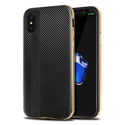 online retailer 25996 4daee iPhone X Case, Willnorn iPhone 10 Case Cover with Resilient Shock  Absorption and Carbon Fiber Design for iPhone X -Gold