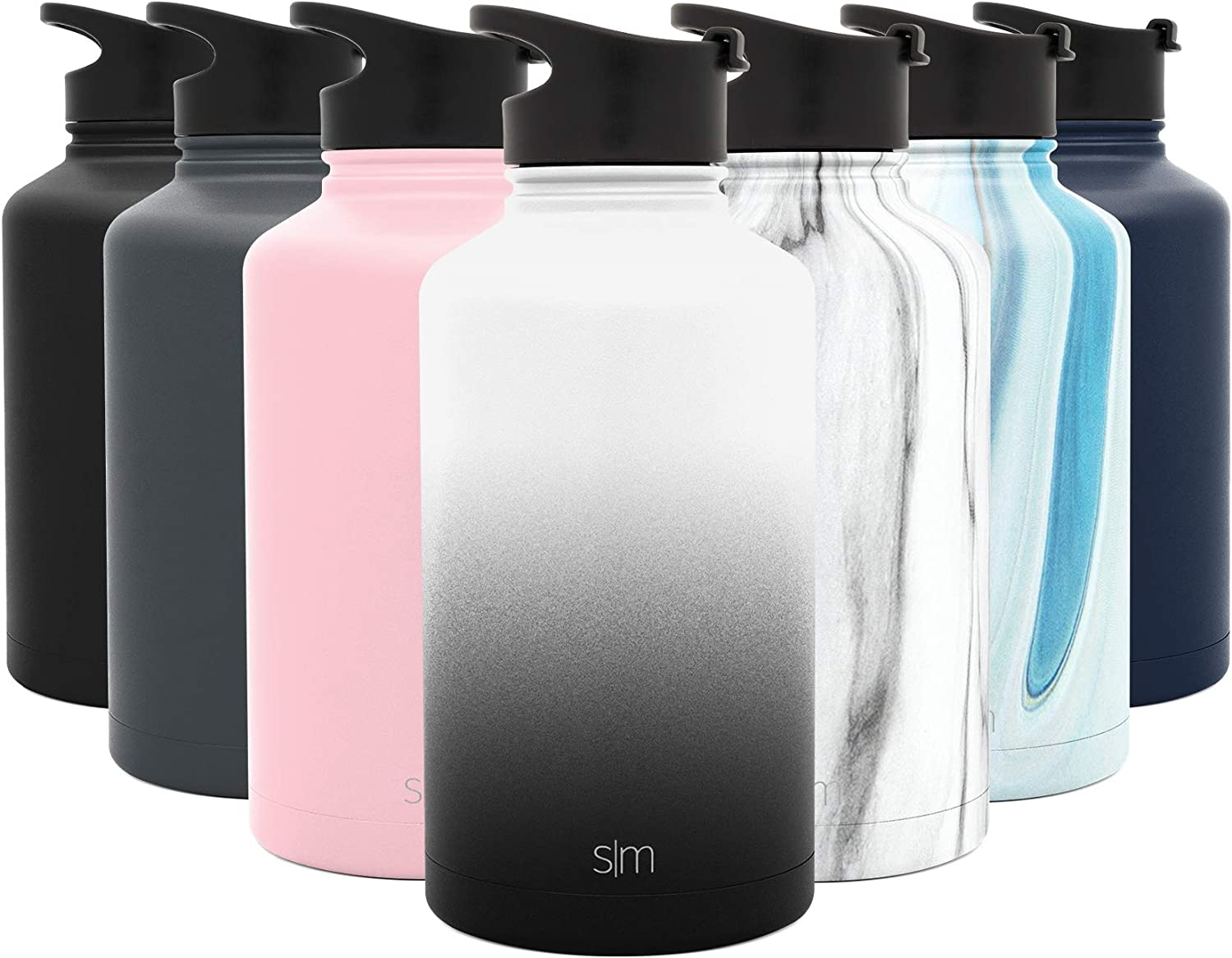 Simple Modern 64 Ounce Summit Water Bottle - Stainless Steel Half Gallon Flask +2 Lids - Wide Mouth Double Wall Vacuum Insulated Leakproof Ombre: Tuxedo