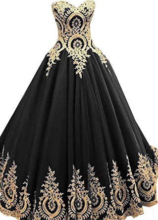 c908e7f7ffe Jingliz Gold Lace Appliques Sweetheart Quinceanera Dress 2018 Ball Gown  Prom Dress Long Black US2