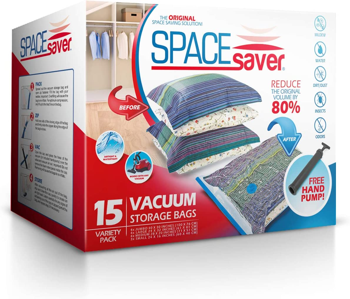 Spacesaver Premium Vacuum Storage Bags (3 x Small, 4 x Medium, 4 x Large, 4 x Jumbo) (80% More Storage Than Leading Brands) Free Hand Pump for Travel! (Variety 15 Pack)