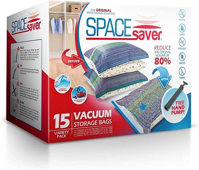 Spacesaver Premium Vacuum Storage Bags (3 x Small, 4 x Medium, 4 x Large, 4 x Jumbo) (80% More Storage Than Leading Brands) Free Hand Pump for Travel! (Variety 15 Pack)